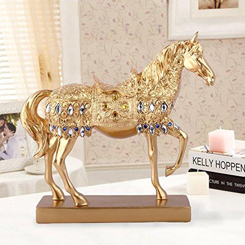Pferd Figur Deko Skulptur Statue Dekofiguren Kunstharz Wohnzimmer Dekoration Geschenk Höhe 27 cm Gold