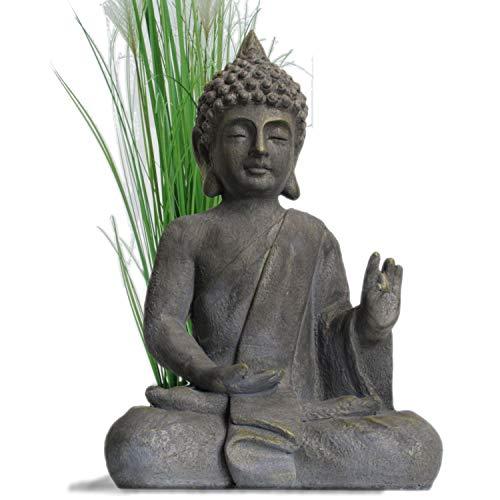 Stein Buddha Antik massiv Steinfigur Skulptur Feng Shui Garten Deko Statue