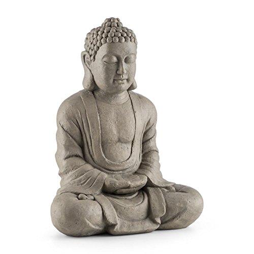 Blumfeldt Siddhartha • Skulptur • Gartenskulptur • Deko-Figur • Buddha-Statue • sitzend • für drinnen und draußen • witterungs- und frostbeständig • Handgefertigt • 60cm Höhe • Natursteinoptik • grau