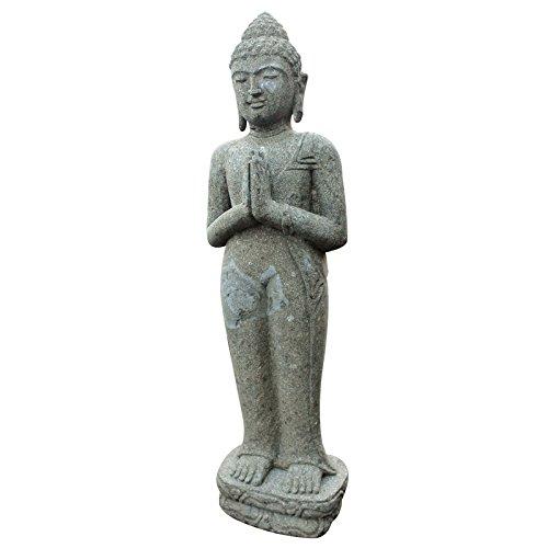 Buddha Figur 100cm stehend Skulptur Statue Green Stone Bali Feng Shui Garten