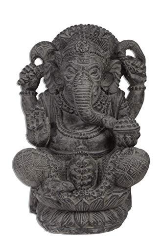 Ca 55 bis 60cm Gamesha Stein Buddha Antik Look Hindu Massiv Steinfigur Skulptur Feng Shui Garten Deko Wetterfest Lava Stein aus Bali Elefant Ca 50-60 Kilo STB9