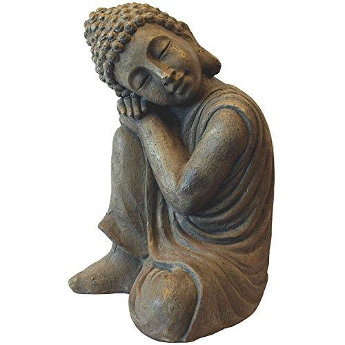 Multistore 2002 Deko Buddha kniend H43cm Dekofigur Gartenfigur Steinfigur Skulptur Statue Buddhafigur Gartendekoration Buddhismus