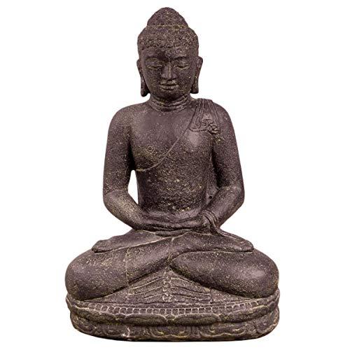 Oriental Galerie Buddha Figur sitzend Skulptur Lotussitz Meditationsgeste Stein Lavasand Bali Steinfigur Garten Deko 45 cm