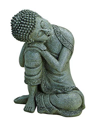 WOMA Deko Buddha Figur Sitzend aus Wetterfestem Polyresin Dekoration für Haus Wohnung und Garten 20cm hoch Skulptur für Innen und Außen Grau