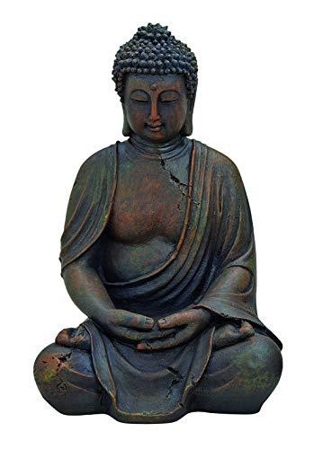 WOMA Deko Buddha Figur Sitzend aus Wetterfestem Polyresin Dekoration für Haus Wohnung und Garten 30cm hoch Skulptur für Innen und Außen Braun