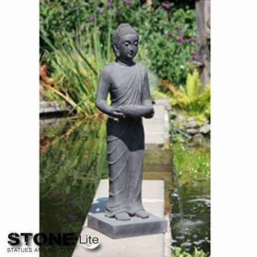 XXL Buddha Skulptur Gartendeko stehend steingrau Höhe 100 cm