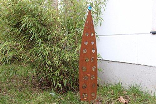 Edelrost GartenFigure aus Metall Rost Gartenstecker Skulpture GartenGlaskugel Glasdeko Blau 031833 100  185  3cm