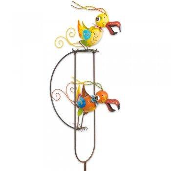 Gartenstecker - Gartenpendel Funny Swingbirds - UV-beständiges und wetterfestes Metall - Gesamthöhe 135cm - inkl Standstab