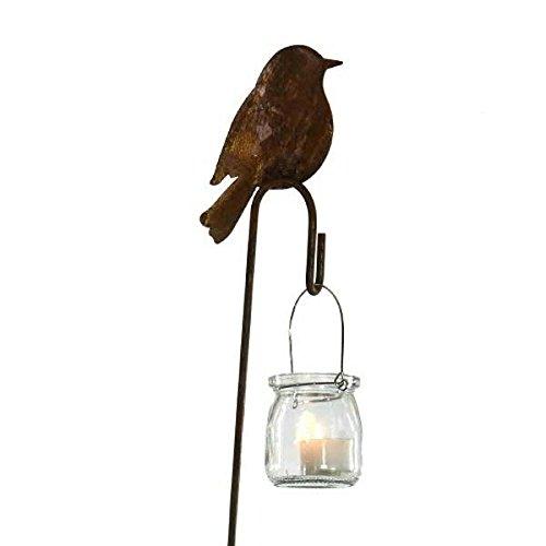 Klocke Edelrost Dekor Metall Gartendekoration in Rostoptik - Gartenstecker Vogel mit Aufhänger ohne Glas - Länge 100cm  Ø10x14cm - Ganzjährige Rostdekoration