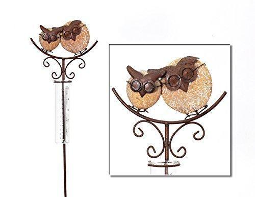 Regenmesser Metall  Gartenstecker Gartendeko Rostoptik Eulen