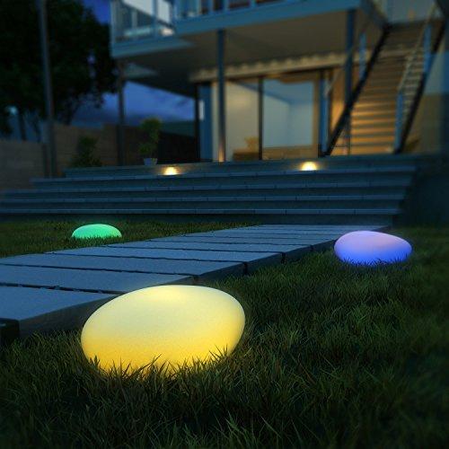 LED Solarleuchten Kealive Gartenleuchten Kugelleuchte mit einem längsten Innendurchmesser von 40 cm 8 verstellbarer Farben Wasserdichte Klasse IP67 Solarlampe Kieselstein Form für Garten Hof usw