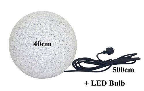 Trango IP65 Gartenkugel in Granit-Optik 40cm Ø inkl1x E27 LED LM 5m Outdoorkabel TG400GB
