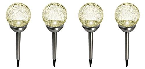 Fachhandel Plus 4er Set Kristallglas Premium Solarlampe Leuchte LED Edelstahl Gartenkugel