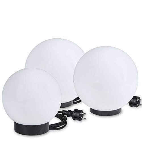 Kugelleuchten 3er SET Gartenbeleuchtung 15 cm 20 cm 25 cm Ø Außenleuchten weiße Gartenlampen Innen Außen Gartenkugeln für Energiesparlampen E27 LED - 230 V 20W Kugellampen mit IP44