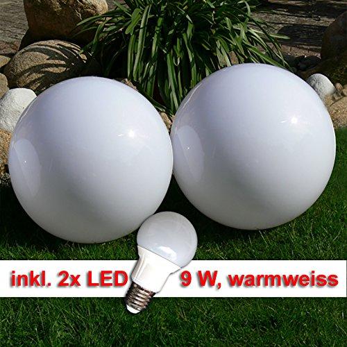 LED Kugellampe 2 x 50cm Set Kugelleuchte incl 9 Watt LED Leuchtmittel E27 warmweiss Gartenkugel Leuchtkugel für Aussen Kugellampen Set für den Garten