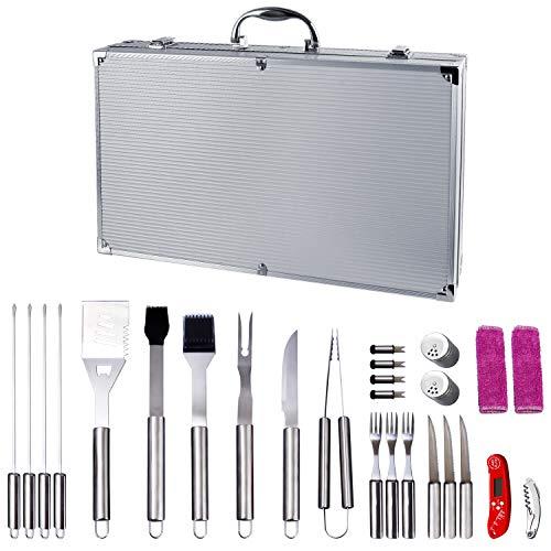 WolfWise 27 Stück Grillbesteck Set Grillzubehör BBQ Werkzeug Set im Koffer für Grillen Garten Feier Edelstahl